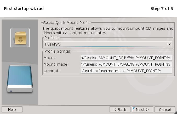 QMount Wizard Screen